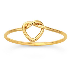 gold heart love knot ring