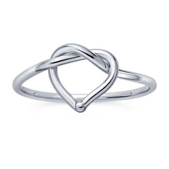 sterling heart love knot ring