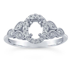 14k white gold floral diamond ring