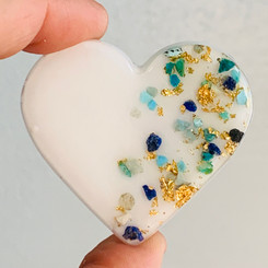 medium heart with turquoise and gold metallic