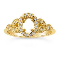 14k gold floral halo ring