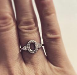 halo oval trio crystal trim ring