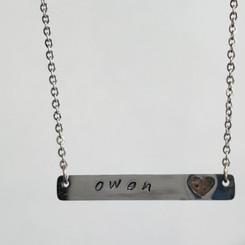 heart bar memorial necklace