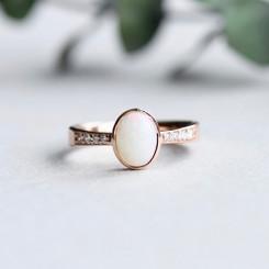 14K Diamond oval ring