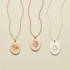 birth flower oval necklace