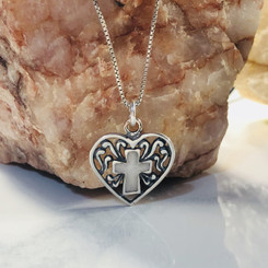 cross in a heart charm