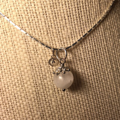 silver tiny initial tag