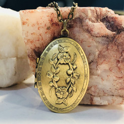 antique brass floral locket