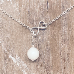 infinity heart pearl necklace