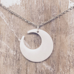 large crescent moon pendant