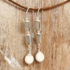 aqua chalcedony stone pearl earrings