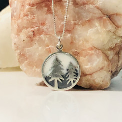 mountain and trees charm