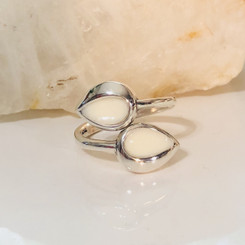 sterling silver teardrop bypass ring
