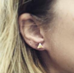 metallic triangle stud earrings