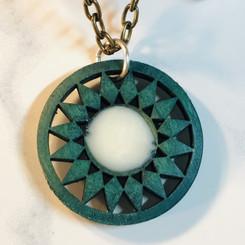 aqua wood pendant