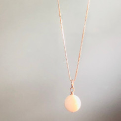 14K white gold breast milk pearl