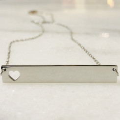 bigger heart bar necklace