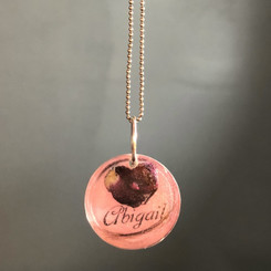 flower heart name pendant