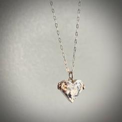 hammered heart locket