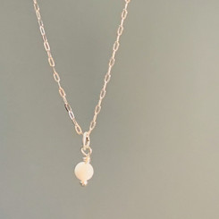 14K white gold breast milk tiniest pearl