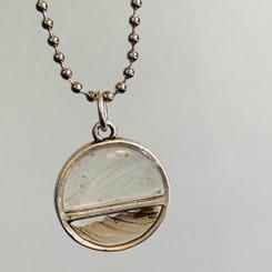 split feather pendant