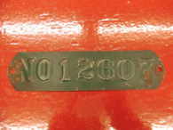 VINTAGE OLD CAR BUGGY BODY ID TAG NO. 12607 COLLECTIBLE HISTORICAL