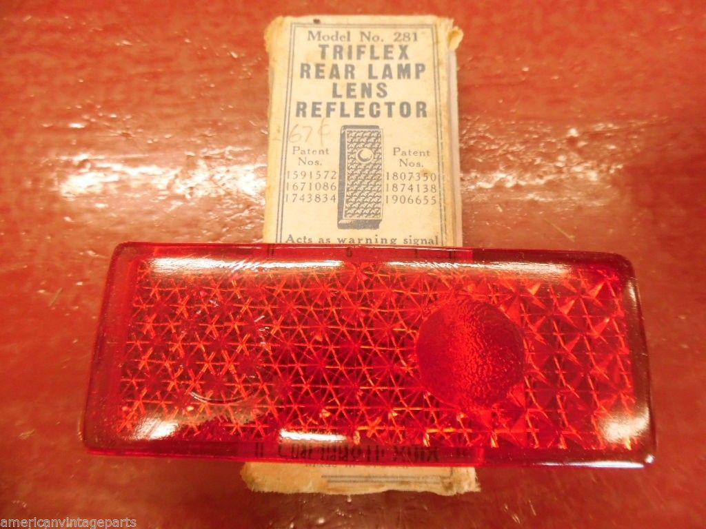1941 Ford Tail Lamp Lens Reflector Nors K D Triflex In Box Steering Image 1