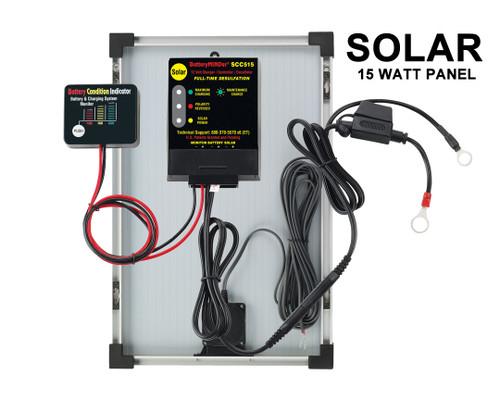 BatteryMINDer® Model SCC515-15: 12V 15 Watt Solar Charger-Maintainer-Desulfator With Panel