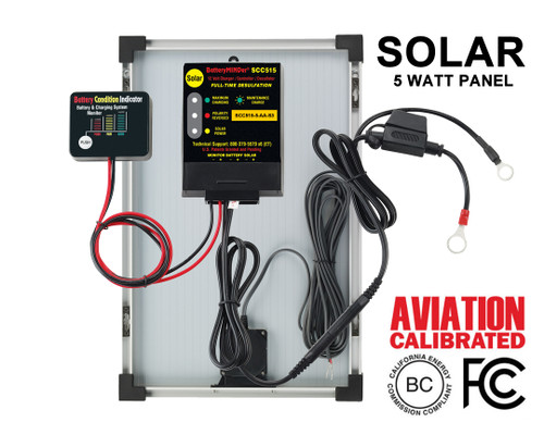 BatteryMINDer® Model SCC515-5-AA-S3: 12V Controller w/5 Watt Panel Aviation Solar Charger-Maintainer-Desulfator
