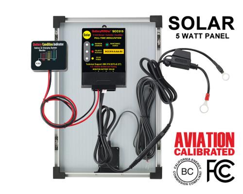 BatteryMINDer® Model SCC515-5-AA-S3: 12V Controller w/5 Watt Panel Aviation Solar Charger-Maintainer-Desulfator