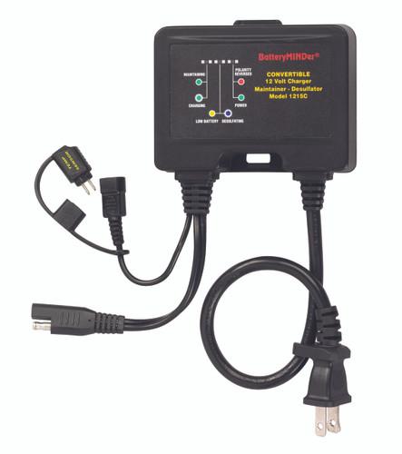 BatteryMINDer® Model 1215C: 12V 1.5 AMP Convertible Onboard or Benchtop Charger-Maintainer-Desulfator