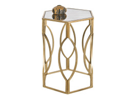Hexagonal Antique Gold Side Table