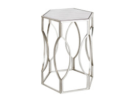 Hexagonal Antique Silver Side Table