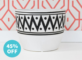 Black & White Zig Zag Ceramic Pot - Warehouse Sale #1