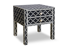 Black & Bone Inlay Moroccan Table with 2 Drawers