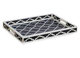 Bone Inlay Moroccan Rectangular Tray in Black