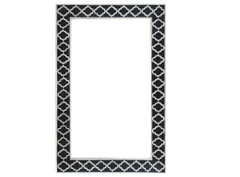 Bone Inlay Moroccan Rectangular Mirror in Black