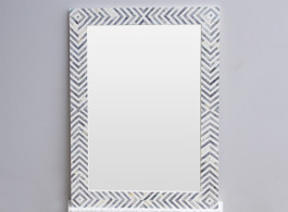 Bone Inlay Rectangular Mirror  in Chevron Grey #2
