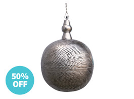 Tangier Silver Round Pendant Light - Warehouse Sale