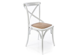 Distressed White X Back Chair with Solid Rattan Seat
