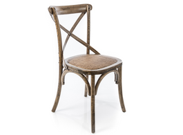 Natural X Back Chair with Solid Rattan Seat
