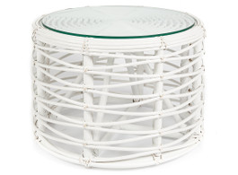 White Rattan Round Coffee Table with Glass