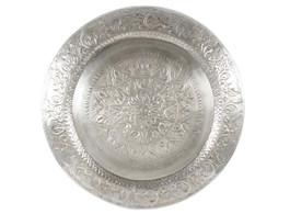 Embossed Silver Round Aluminium Tray