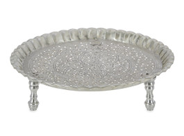 Round Aluminium Tray with Ruffle Edge and Kashmiri Cutwork on Legs