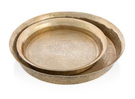 Gold Set of 2 Aluminium Bubble Hammered Round Collar Platters