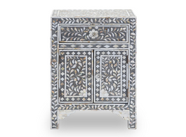Grey & Mother of Pearl Inlay Bedside Cabinet