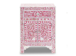 Mother of Pearl Inlay Bedside Cabinet in Strawberry