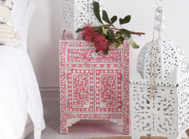 Strawberry & Mother of Pearl Inlay Bedside Table