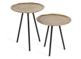 Set Of 2 Large and Small Scandi Aluminium Side Tables With 3 Iron Legs