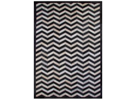Cow Hide Chevron Floor Rug - Black & White